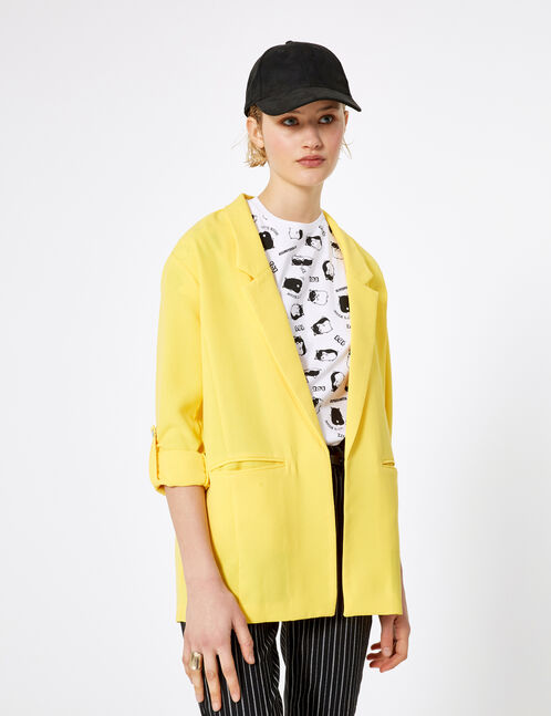 blazer manches roll up jaune