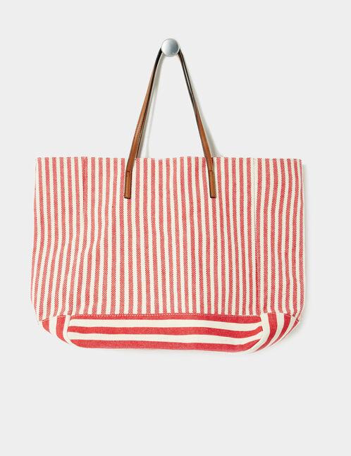 sac de plage rayé écru et rouge
