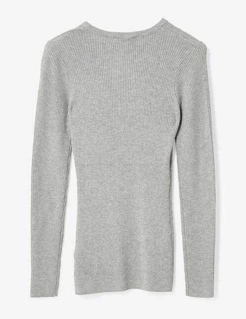 pull côtelé gris chiné
