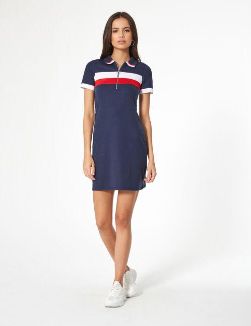 robe esprit polo bleu marine blanche et rouge