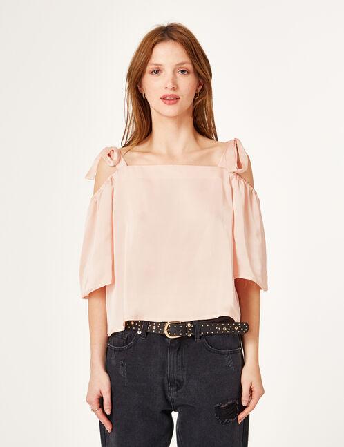 blouse satinée rose clair