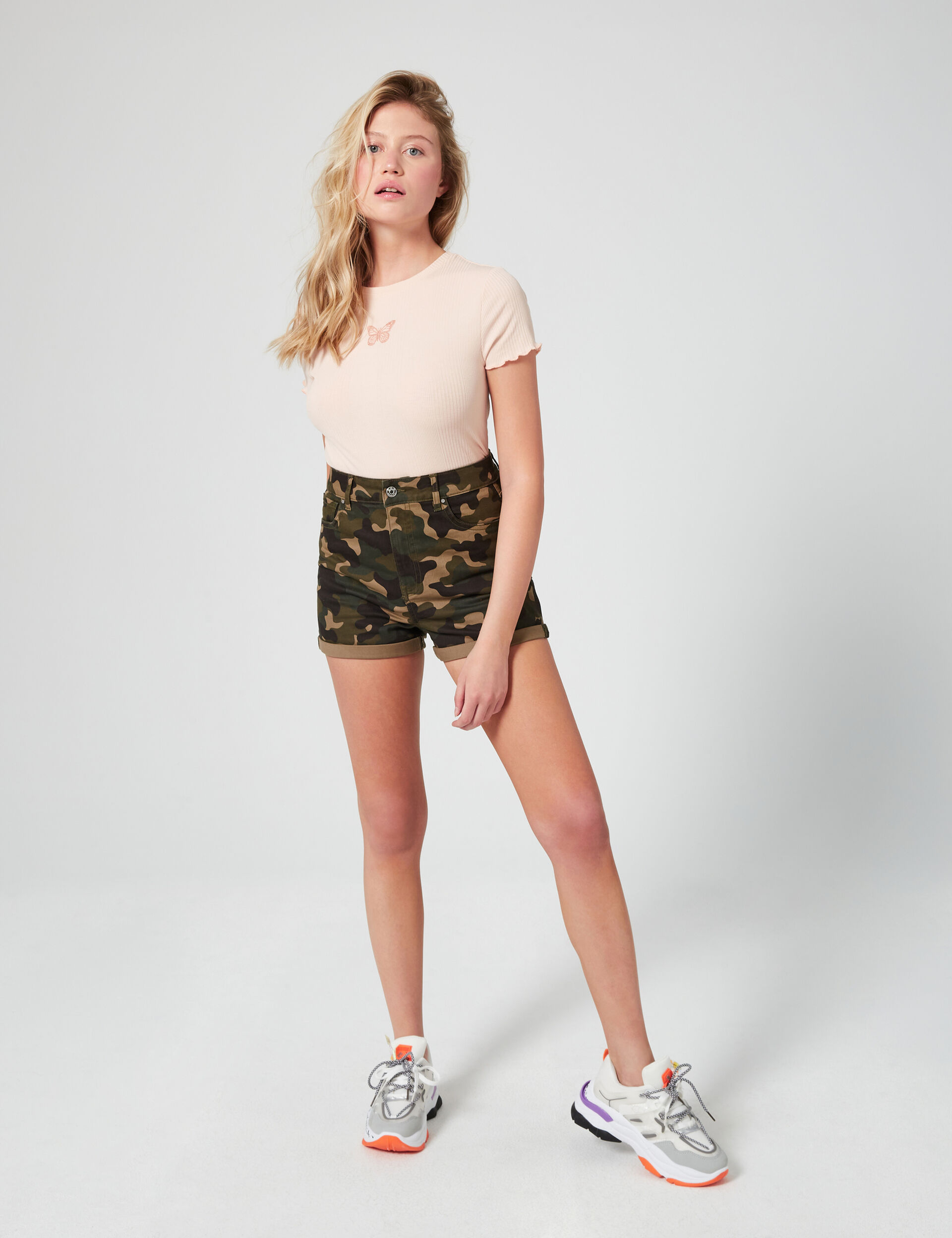 High-waisted skinny fit shorts