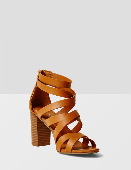 Camel strappy sandals