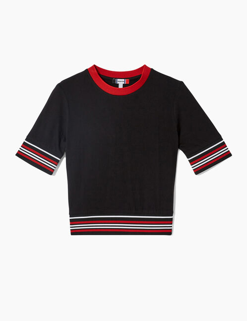 Black, red and white T-shirt with striped trim detail