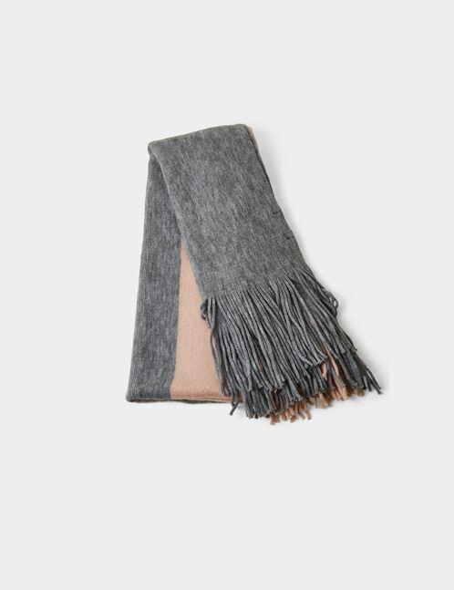 écharpe bicolore grise et rose clair