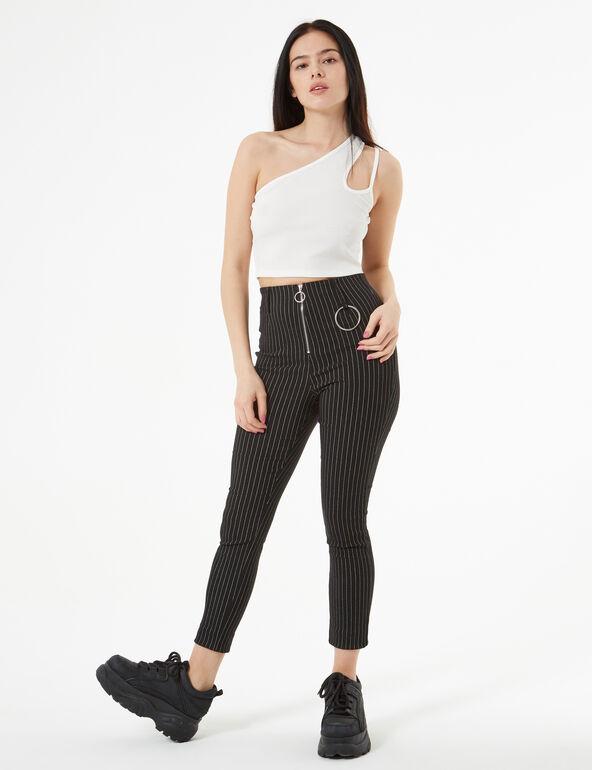 Pantalon rayé avec boucle