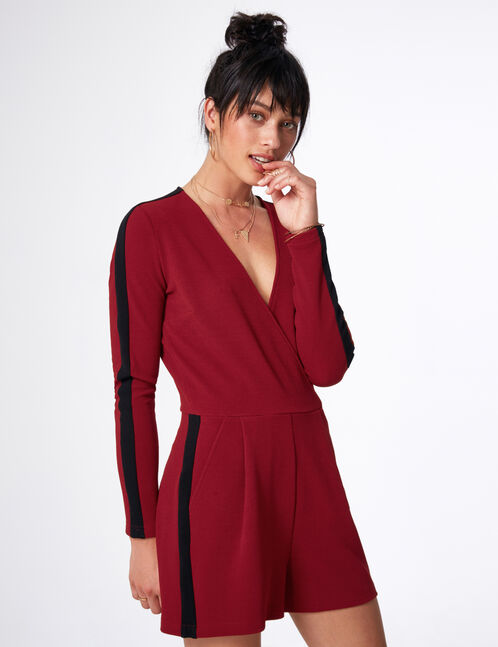 Burgundy and black playsuit with stripe detail