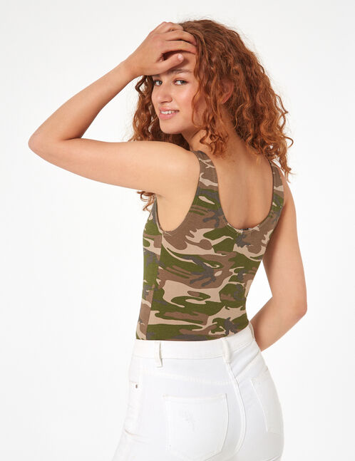 body sublime camouflage kaki et orange