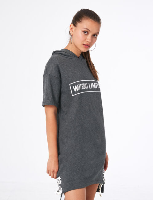 Charcoal grey marl sweatshirt with text design and lacing details