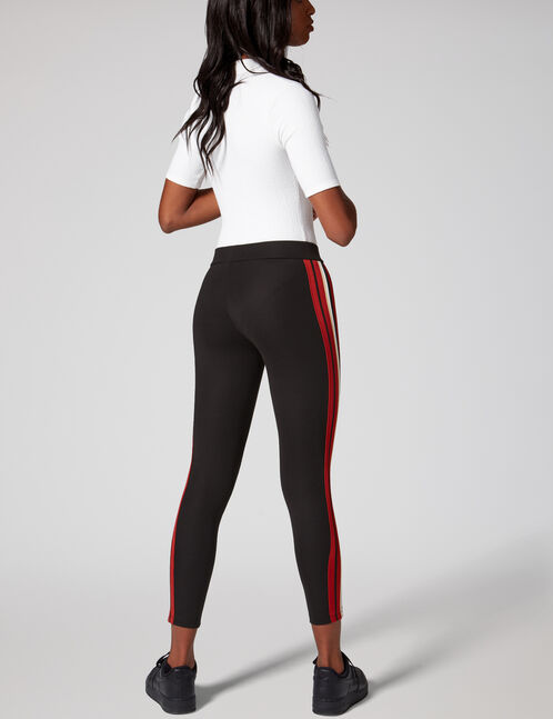 Black, rust, beige and white leggings with side stripe detail