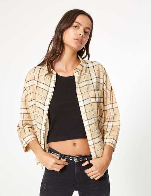 Beige and black checked shirt