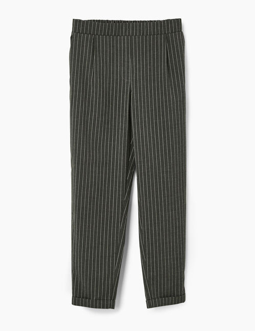 Grey pinstripe tailored trousers