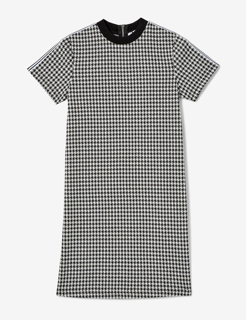 Black and cream houndstooth dress