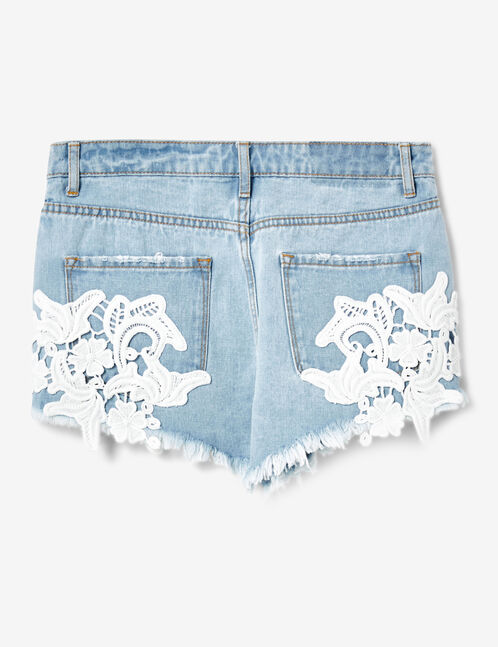 short en jean avec dentelle bleach