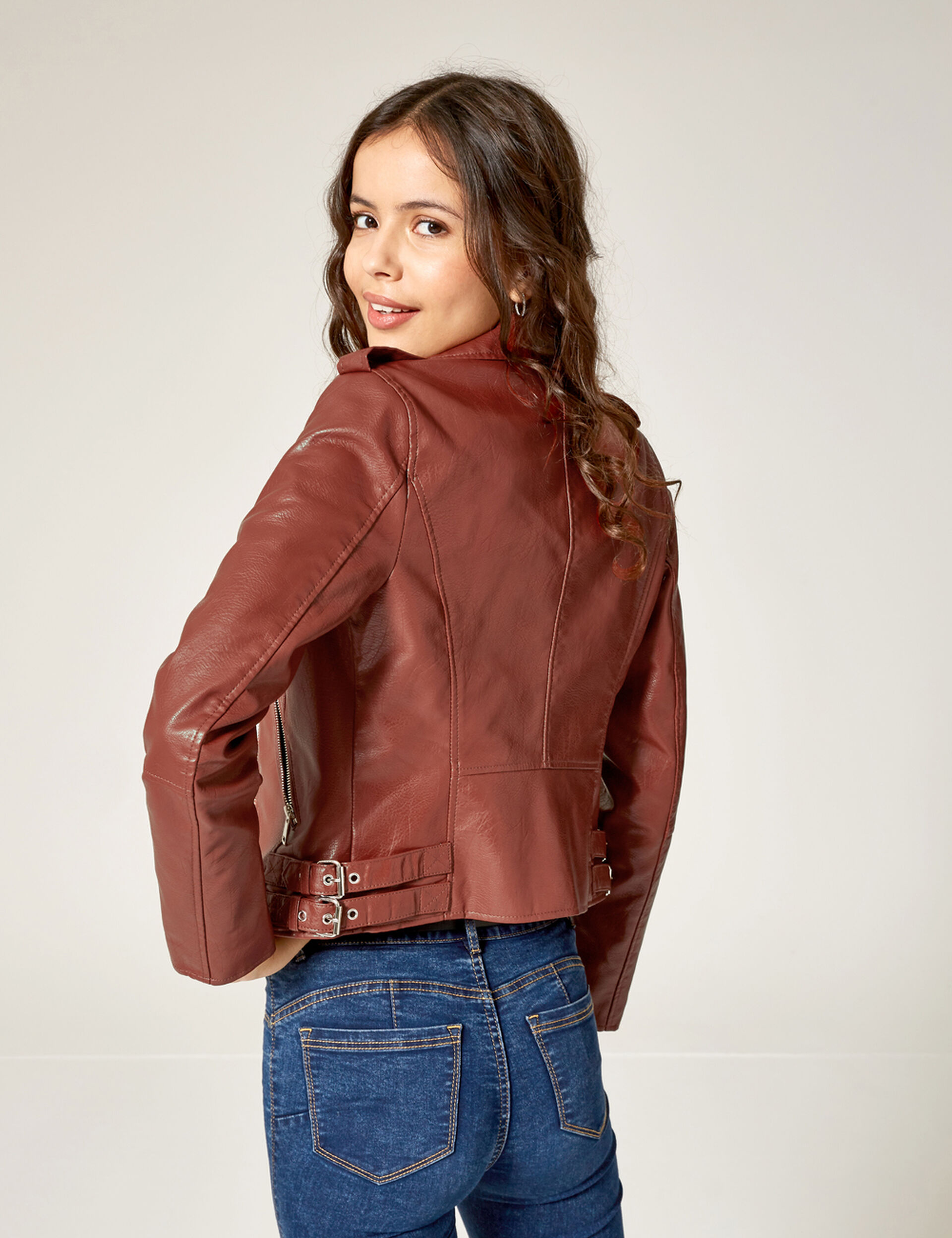Rust-coloured biker jacket with pockets