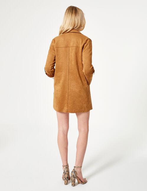 veste longue suédine camel