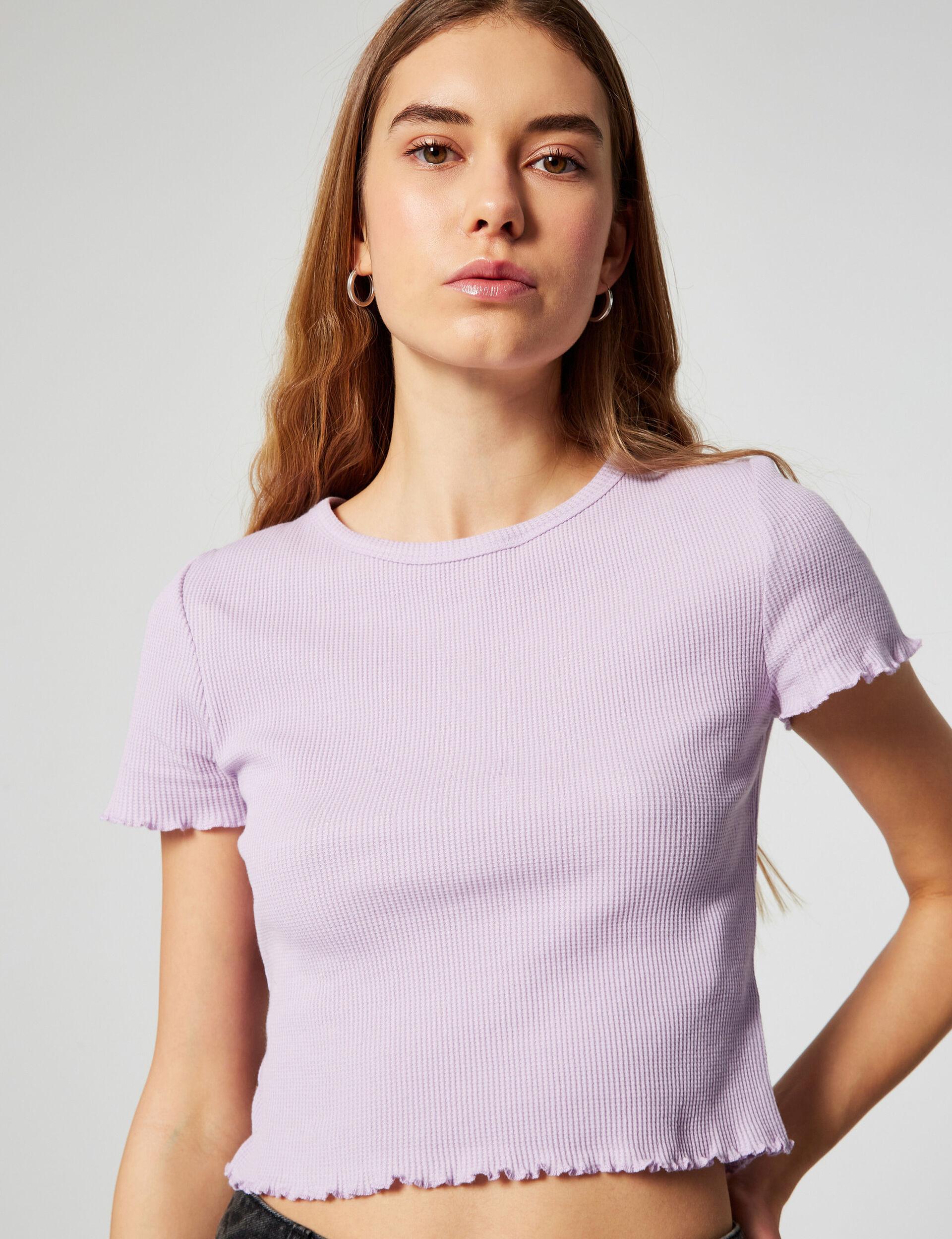 Waffled striped T-shirt