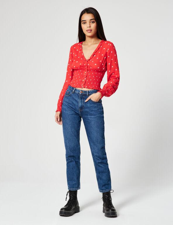Floral-print smocked blouse