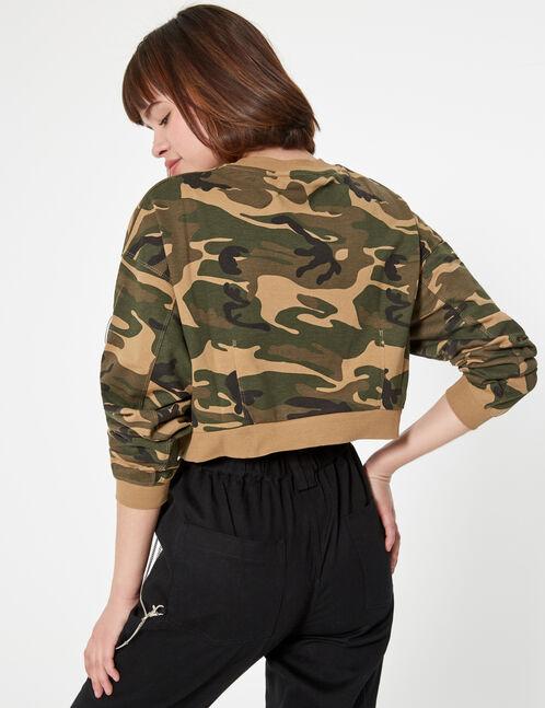 Cropped camouflage sweatshirt