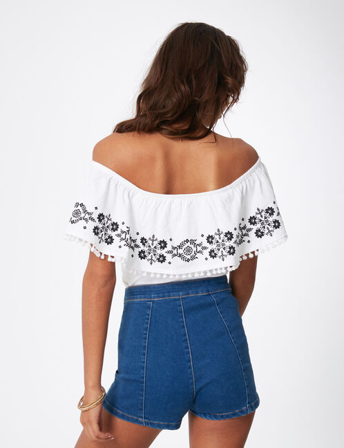 White off-the-shoulder T-shirt