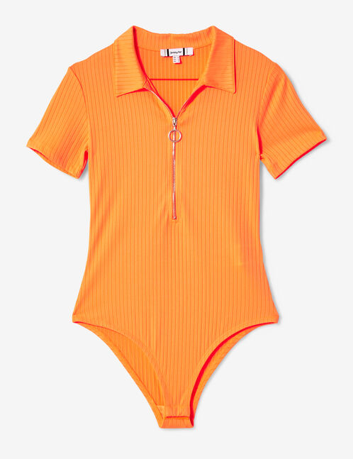 body esprit polo zippé orange fluo