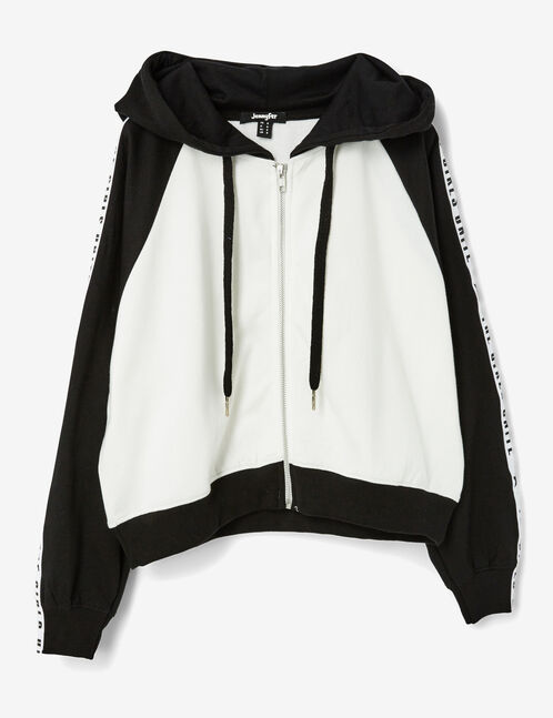 Cream and black zip-up hoodie with text design detail