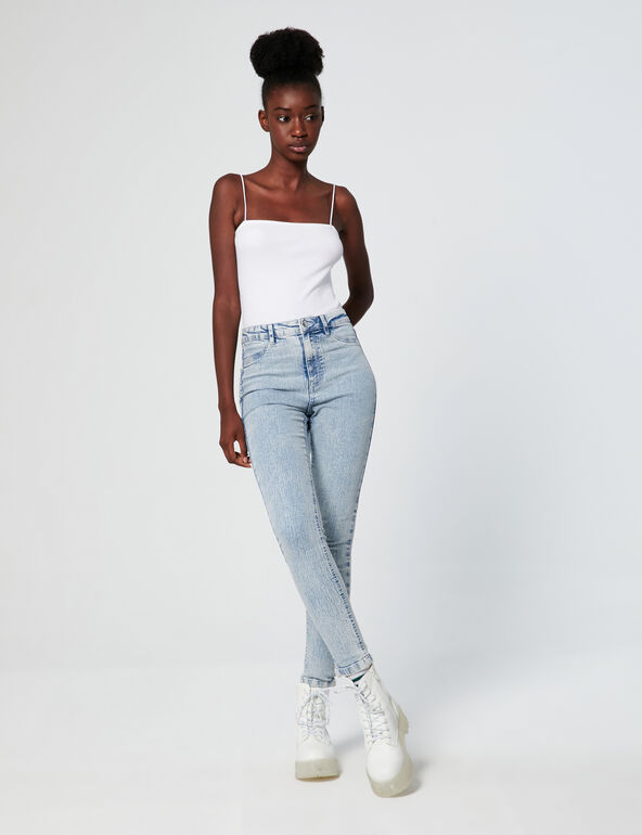 Distressed high-waisted jeggings