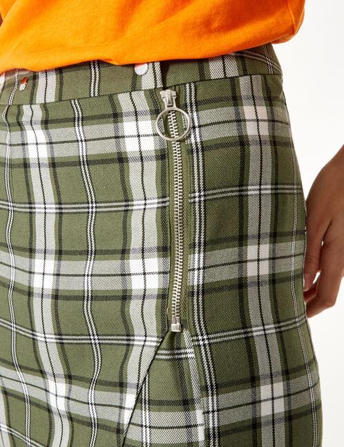 jupe à carreaux avec zip verte, noire et blanche