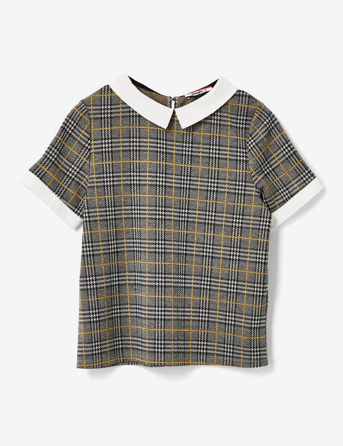 tee-shirt col blanc noir, gris et ocre