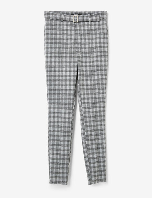 Grey and black glen check trousers