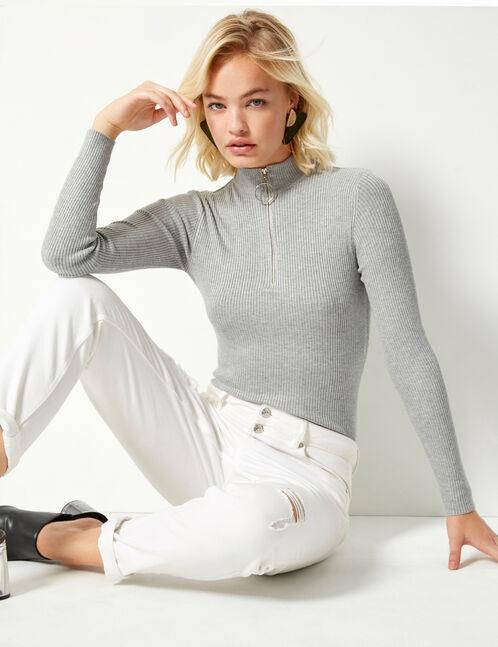 pull côtelé zippé