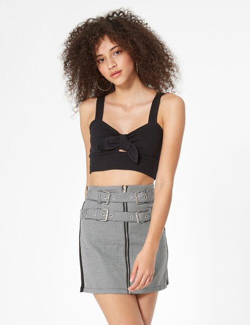 jupe zippée avec ceinture noire et blanche