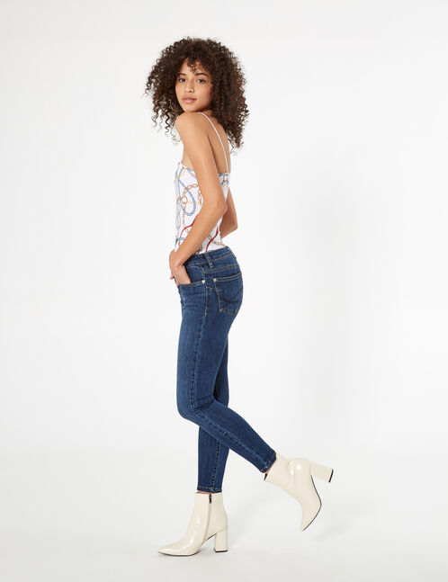 Dark blue low-rise push-up jeans
