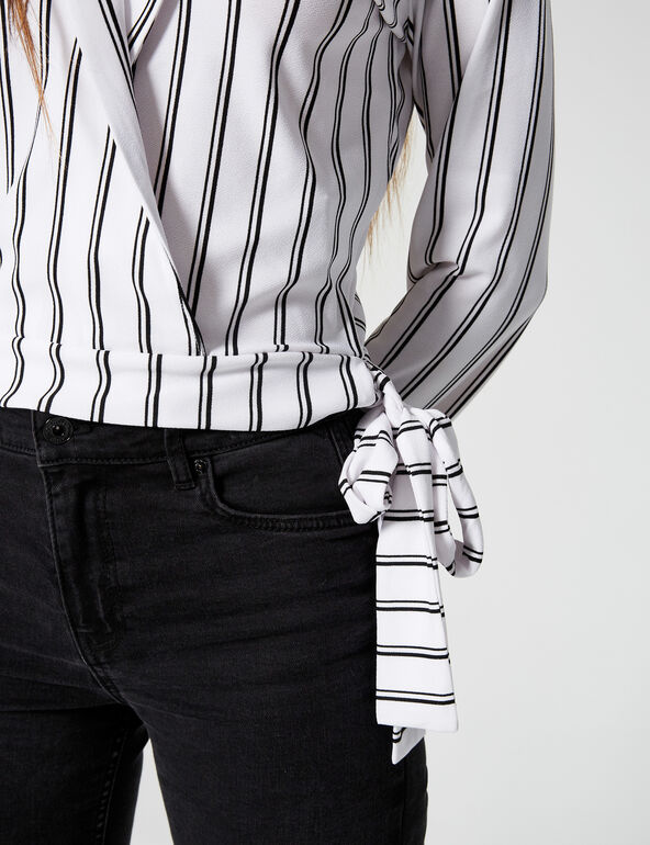 Striped T-shirt with tie detail
