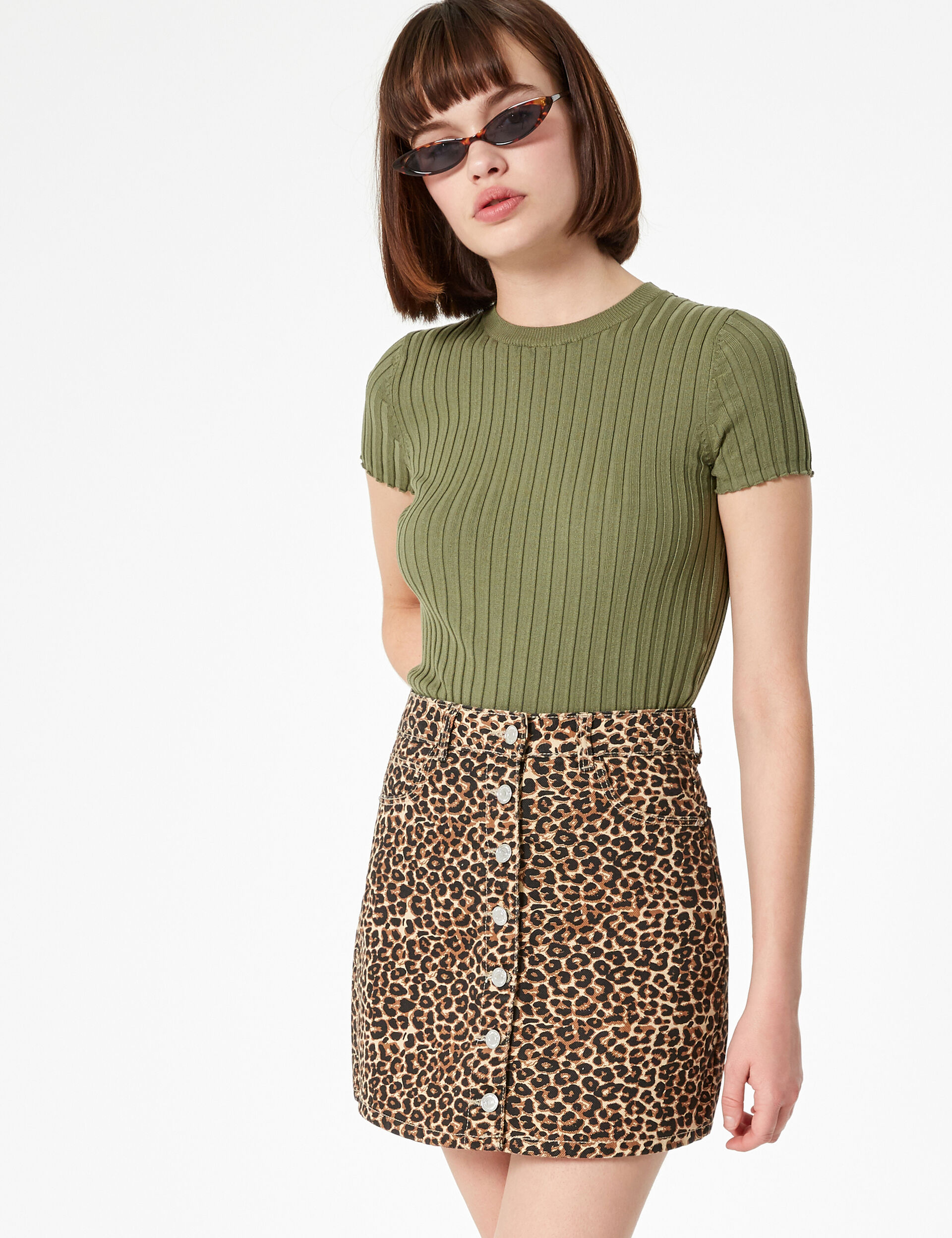 Camel and black button-up skirt with leopard print detail