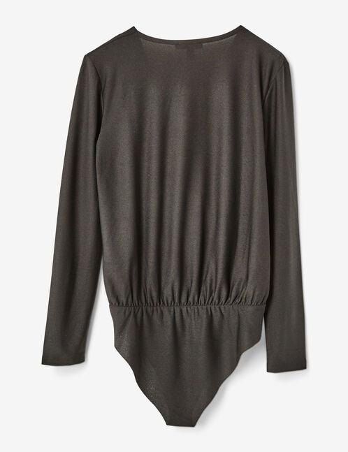 Black surplice bodysuit