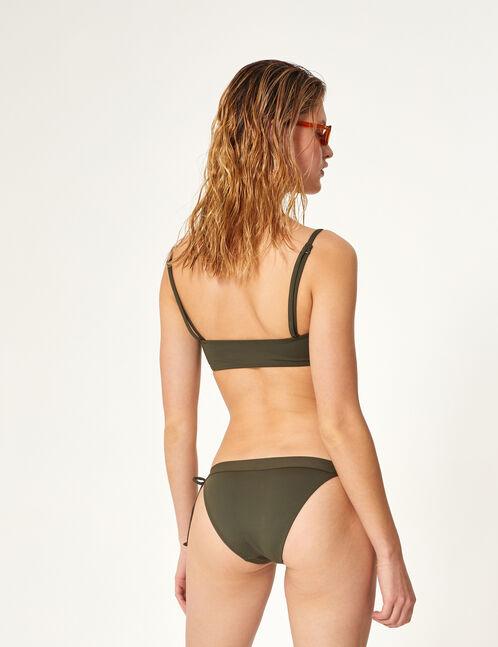 Khaki bikini set with lacing detail
