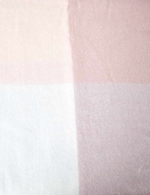 Light pink, cream and grey large checked scarf