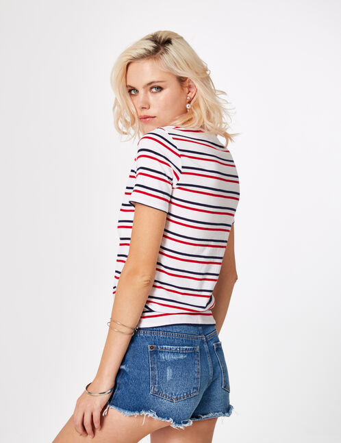 White striped T-shirt with sequin detail