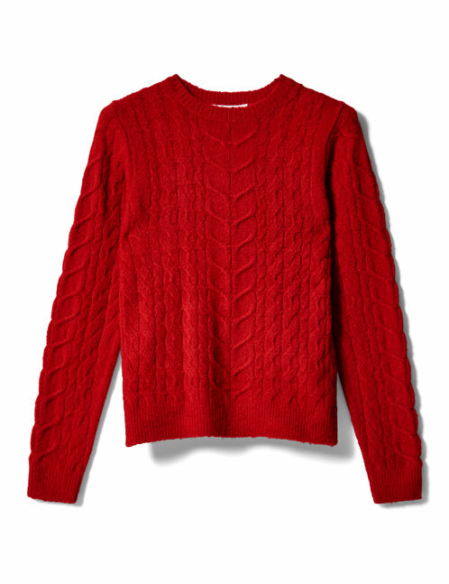 Red braided knit jumper