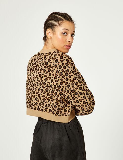 sweat court léopard beige, marron et noir