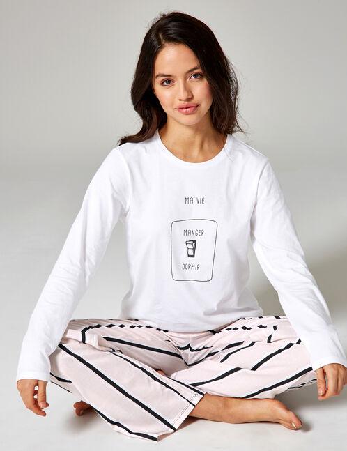 set pyjama long écru, noir et rose clair