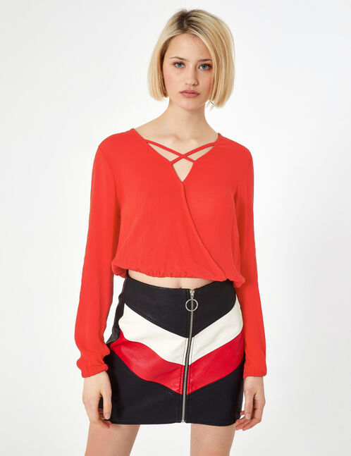 Red blouse with strap detail