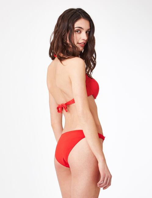 Red bikini top with eyelet detail