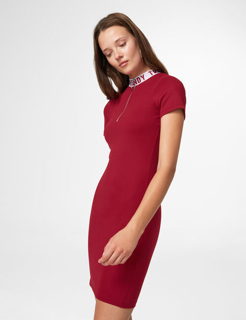 robe zippée trendy bordeaux