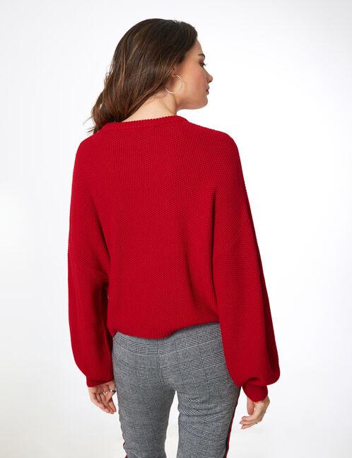 pull texturé rouge