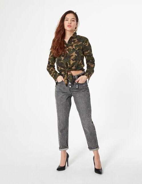 chemise camouflage à nouer