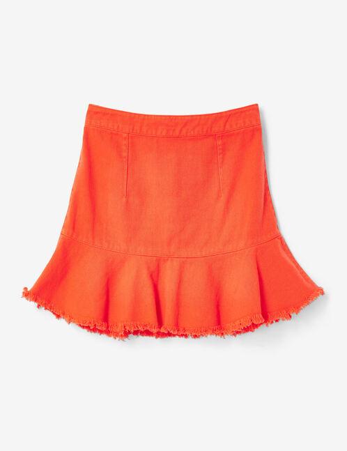 jupe évasée avec volant rouge