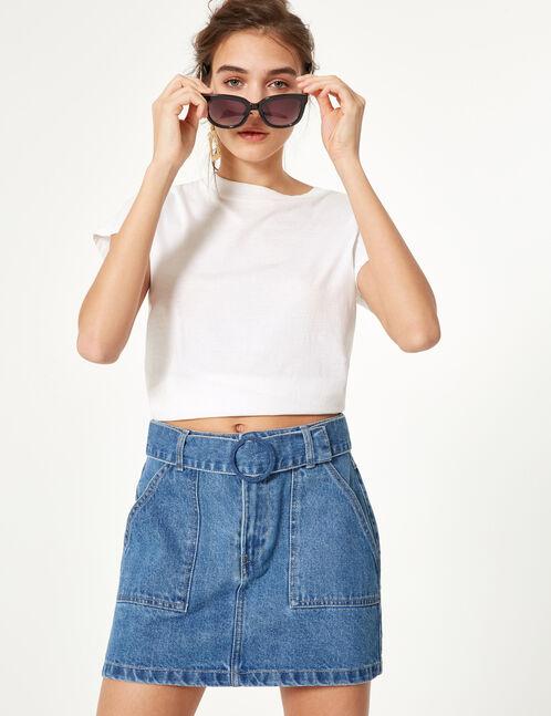 Blue denim skirt with belt