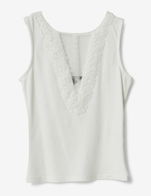 Cream tank top with lace panel detail